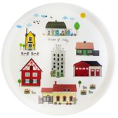 "Round tray "" Houses of Visby"""