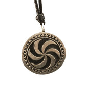 Tin pendant with picture stone design: sun wheel. Large